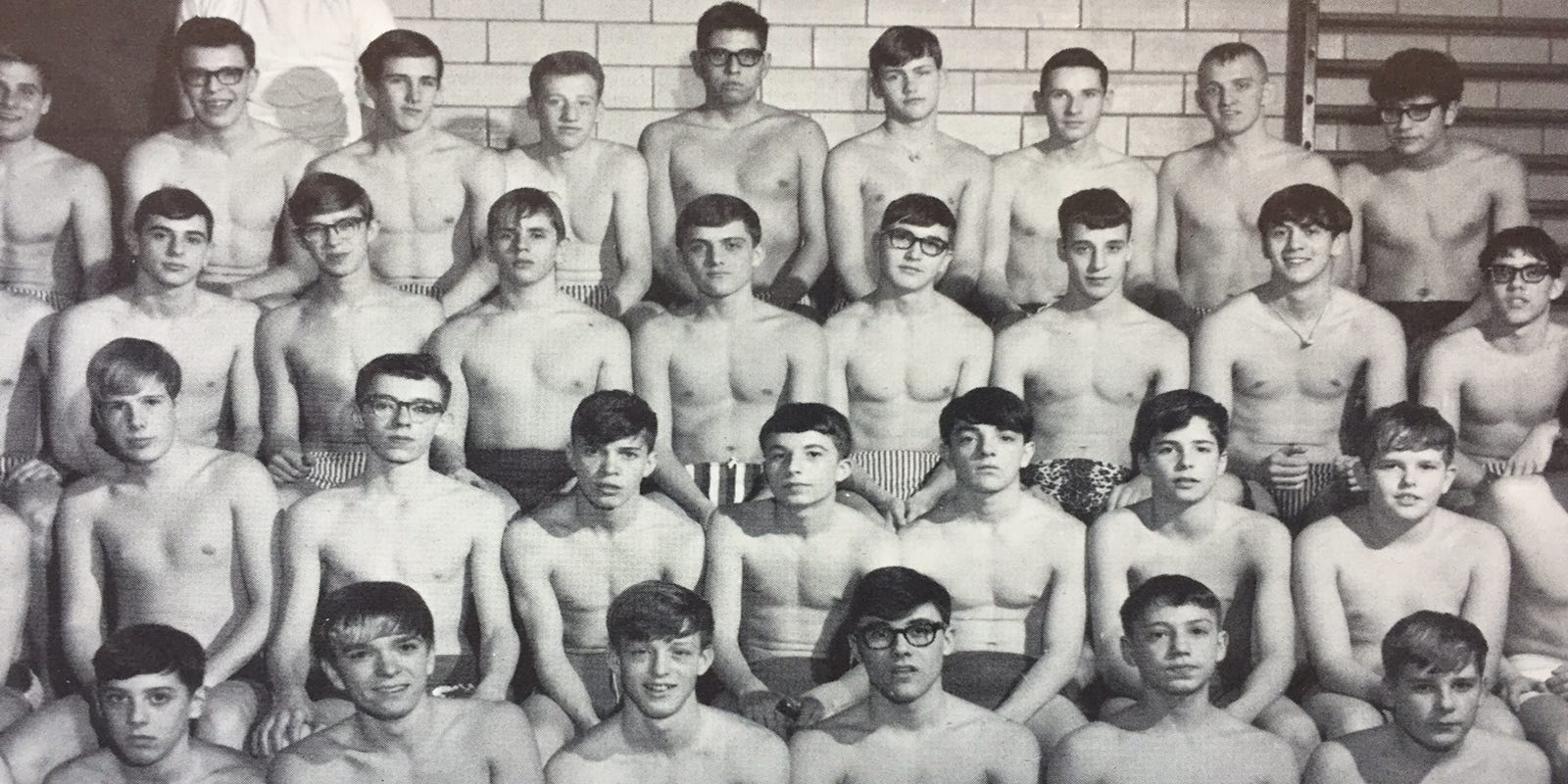 Line of naked guys